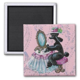 Black Poodle Boudoir  Retro Art Magnet