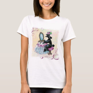 Black Poodle Boudoir Retro Art T Shirt