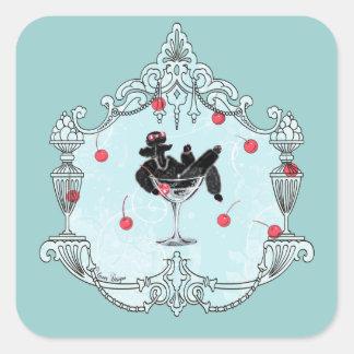 Black Poodle Champagne n Cherries Square Sticker