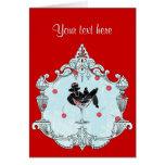 Black Poodle Cherries n Champagne Greeting Cards