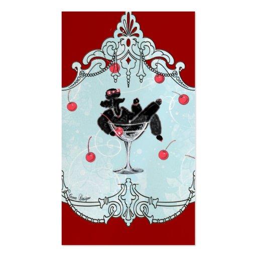 Black Poodle & Cherries Retro Business Card