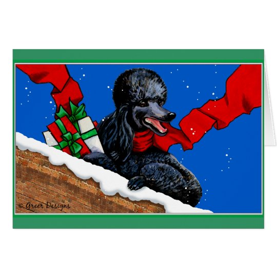 Black Poodle Christmas Art Card