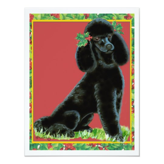 Black Poodle Christmas Holly Art Gifts & Cards