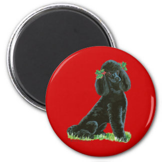 Black Poodle Christmas Holly Art Gifts & Cards 2 Inch Round Magnet