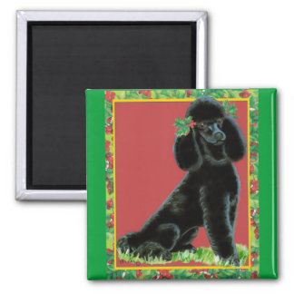 Black Poodle Christmas Holly Art Gifts & Cards 2 Inch Square Magnet
