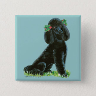 Black Poodle Christmas Holly Art Gifts & Cards Button