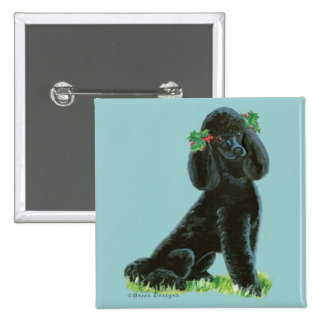 Black Poodle Christmas Holly Art Gifts Cards Pinback Buttons