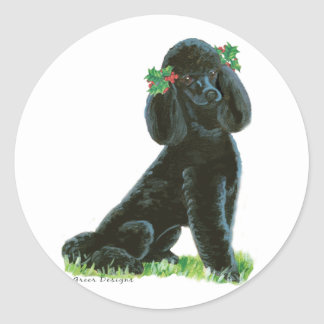 Black Poodle Christmas Holly Art Gifts & Cards Classic Round Sticker