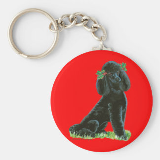 Black Poodle Christmas Holly Art Gifts & Cards Keychain