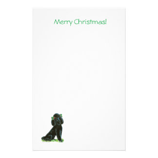 Black Poodle Christmas Holly Art Gifts & Cards Stationery