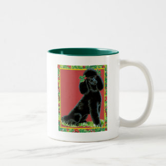 Black Poodle Christmas Holly Art Gifts & Cards Two-Tone Coffee Mug
