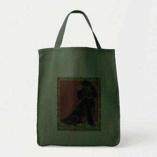 Black Poodle Christmas Holly Art Tote Bag