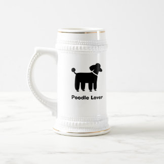 Black Poodle Dog Graphic with Custom Text Beer Stein