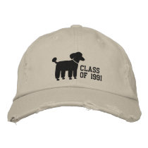 Black Poodle Dog Logo with Custom Text & Color Embroidered Baseball Hat