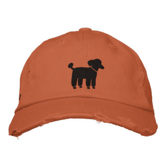 Black Poodle Dog Logo With Custom Text Embroidered Baseball Cap