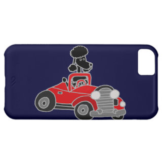 Black Poodle Driving Red Convertible Car Case For iPhone 5C