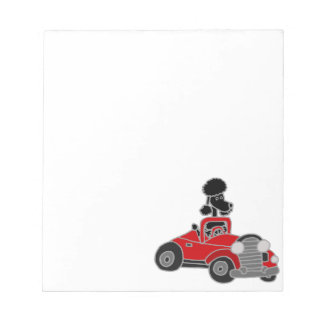 Black Poodle Driving Red Convertible Car Note Pads