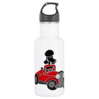 Black Poodle Driving Red Convertible Car 18oz Water Bottle