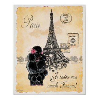 Black Poodle Eiffel Tower Paris Art Print