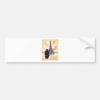 Black Poodle French Paris Eiffel Tower Vintage Bumper Sticker