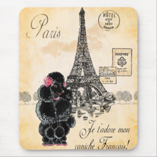 Black Poodle French Paris Eiffel Tower Vintage Mouse Pad