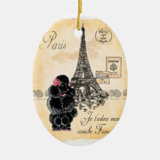 Black Poodle French Paris Eiffel Tower Vintage Christmas Tree Ornaments