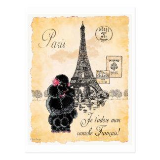 Black Poodle French Paris Eiffel Tower Vintage Postcard