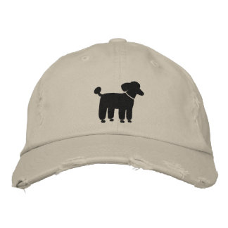 Black Poodle Graphic Embroidered Hat