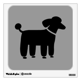 Black Poodle Graphic on Grey (Customizable) Wall Decal