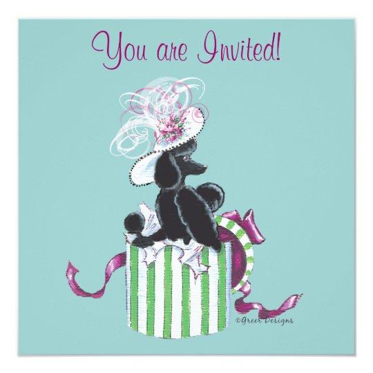 Black Poodle Hatbox Retro Art Invitation Invite