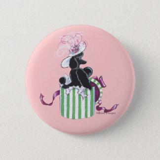 Black Poodle Hatbox Retro Art Print Button