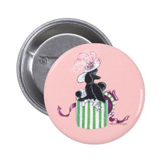 Black Poodle Hatbox Retro Art Print Buttons