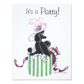 Black Poodle Hatbox Retro Art Print Card