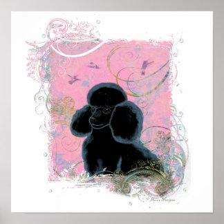 Black Poodle Hummingbirds Swirls Art Invitation Posters