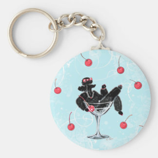Black Poodle in Champagne Glass n ... - Customized Keychains
