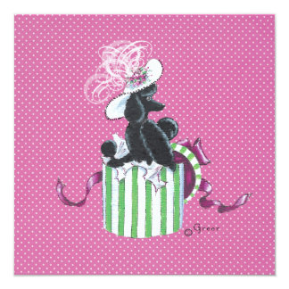 Black Poodle in Hatbox Vintage Style Card