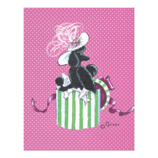"Black Poodle in Hatbox Vintage Style 8.5"" X 11"" Flyer"