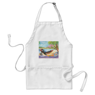 Black Poodle in Hawaii Beach Scene Adult Apron