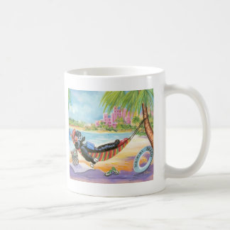 Black Poodle in Hawaii Beach Scene Coffee Mug