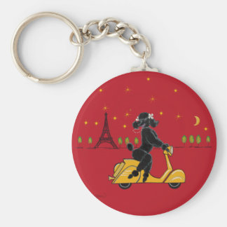Black Poodle in Paris and Scooter Keychain