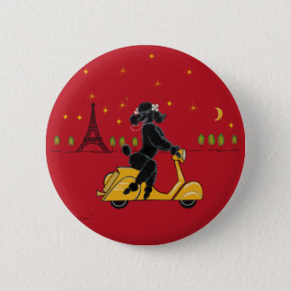 Black Poodle in Paris and Scooter Pinback Button