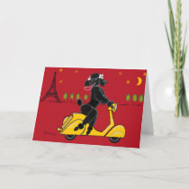 Black Poodle in Paris on Scooter Card