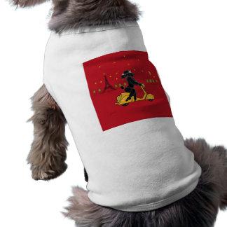 Black Poodle in Paris on Scooter Pet T Shirt