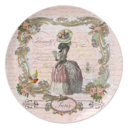 Black Poodle Marie Antoinette Costume Melamine Plate