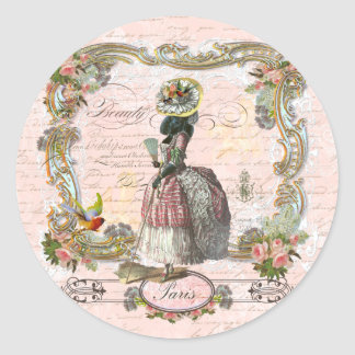 Black Poodle Marie Antoinette Pink Roses Classic Round Sticker