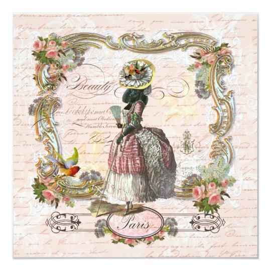 Black Poodle Marie Antoinette Pink Roses Invite