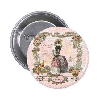 Black Poodle Marie Antoinette Pink Roses Pinback Button