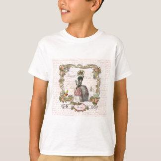 Black Poodle Marie Antoinette Pink Roses T-Shirt