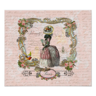 Black Poodle Marie Antoinette Print