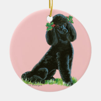 Black Poodle n Holly Christmas Tree Ornament